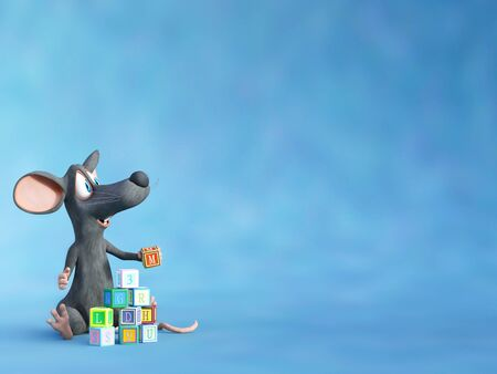 3D rendering of a cute smiling cartoon mouse sitting on the floor and playing and building a tower with toy blocks.