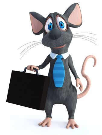 3D rendering of a cute smiling cartoon mouse dressed as a businessman wearing a tie and holding a briefcase, dressed for success.