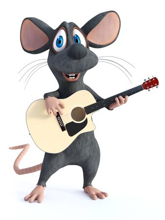 3D rendering of a cute smiling cartoon mouse playing an acoustic classical guitar Stok Fotoğraf