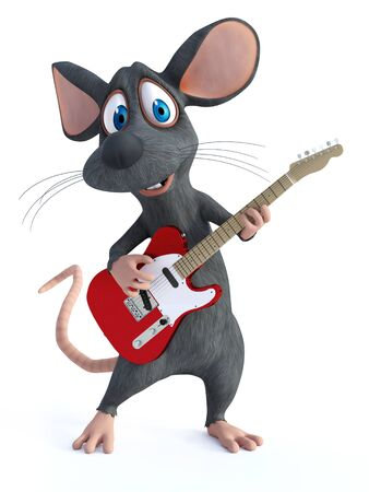 3D rendering of a cute smiling cartoon mouse playing an electric guitar