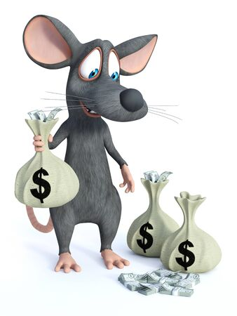 3D rendering of a cute smiling cartoon mouse standing and holding a money bag in his hand and looking at all the money on the floor.
