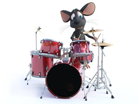 3D rendering of a cute smiling cartoon mouse playing on a set of drums.