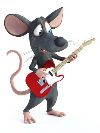 3D rendering of a cute smiling cartoon mouse playing an electric guitar. Stock Photo