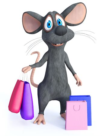 3D rendering of a cute smiling cartoon mouse standing and holding two shopping bags in his hand.