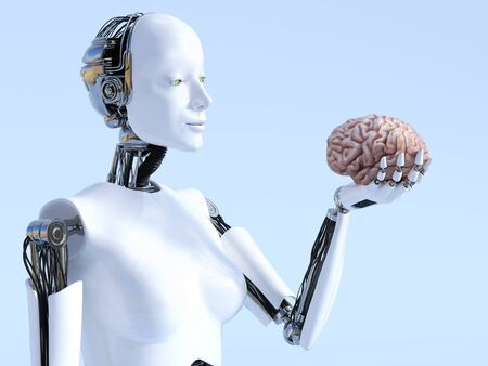 3D rendering of a female robot holding a human brain that she is looking at. Stock Photo