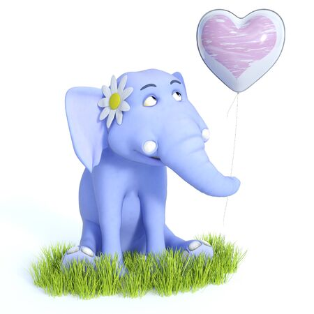 3D rendering of a cute blue cartoon baby elephant sitting down, holding a heart balloon and looking very happy. White background.