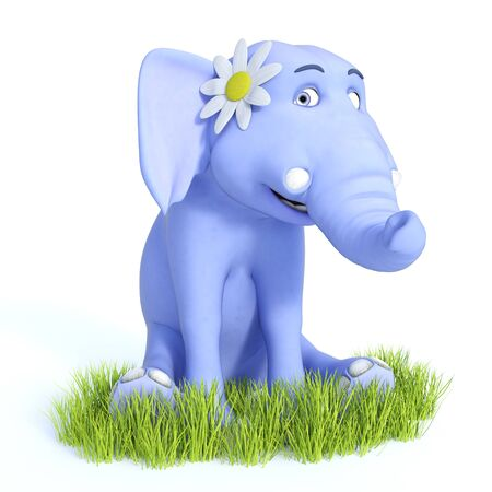 3D rendering of a cute blue cartoon baby elephant sitting down and smiling wearing a flower and looking very happy. White background. 스톡 콘텐츠
