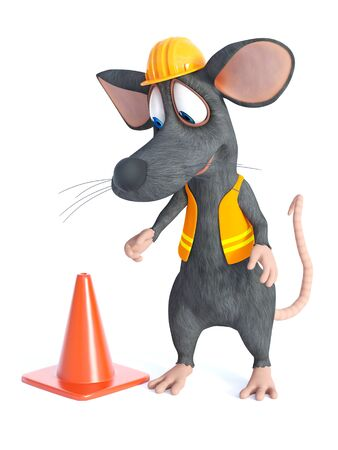 3D rendering of a cute cartoon mouse dressed as a construction woker, looking at a traffic cone. White background. Stok Fotoğraf