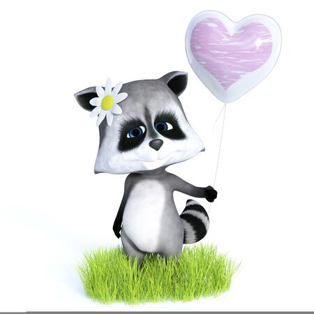 3D rendering of a cute cartoon raccoon standing and holding a heart balloon, looking very happy. White background. Stock Photo