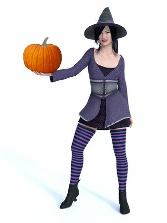 3D rendering of a cute pin-up witch dressed in purple clothes holding pumpkin.