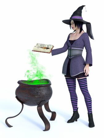 3D rendering of a cute pin-up styled witch dressed in purple clothes holding a spell book.