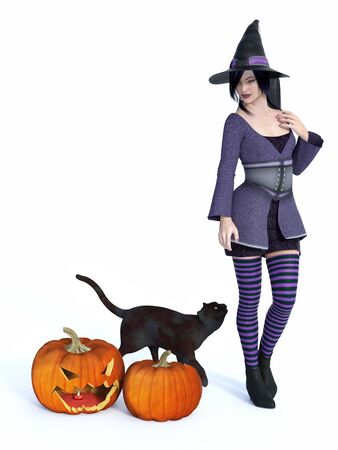 3D rendering of a cute pin-up styled witch dressed in purple clothes looking at a black cat.