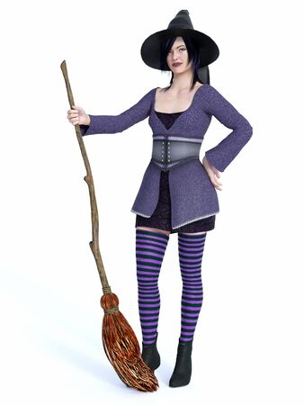 3D rendering of a cute pin-up styled witch dressed in purple clothes holding a broom