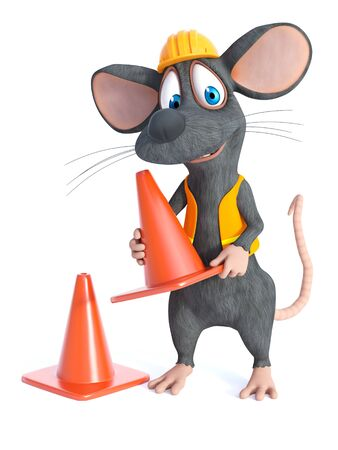 3D rendering of a cute cartoon mouse dressed as a construction woker, holding a traffic cone. White background. Stock Photo