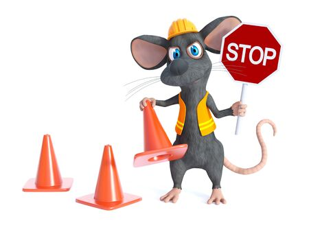 3D rendering of a cute cartoon mouse dressed as a construction woker, holding a traffic cone and stop sign. White background.
