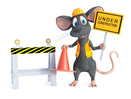 3D rendering of a cute cartoon mouse dressed as a construction woker, holding a traffic cone and under construction sign. White background.