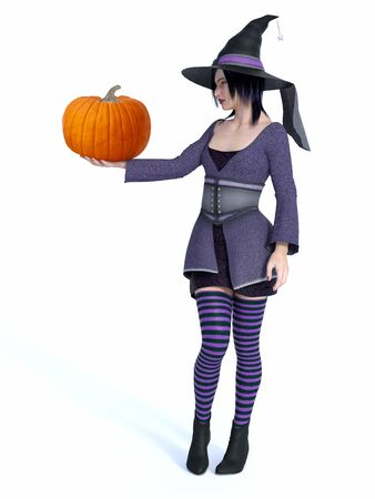 3D rendering of a cute pin-up styled witch dressed in purple clothes holding pumpkin.