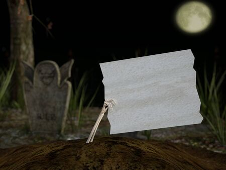3D rendering of a skeleton hand coming out of the ground in a cemetery at night, holding a blank white wooden sign with copyspace. Stock Photo