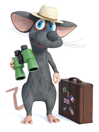3D rendering of a cute smiling cartoon mouse wearing a hat and holding binoculars, looking like a tourist with a travel suitcase beside him. He seems ready to travel. White background. Stock Photo