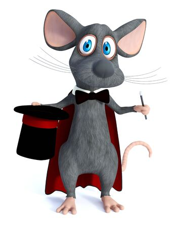 3D rendering of a cute cartoon mouse dressed as a illusionist or magician, holding a high hat and a wand or magic stick. White background.