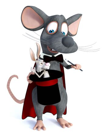 3D rendering of a cute cartoon mouse dressed as a illusionist or magician, holding a high hat with a rabbit in it. White background.