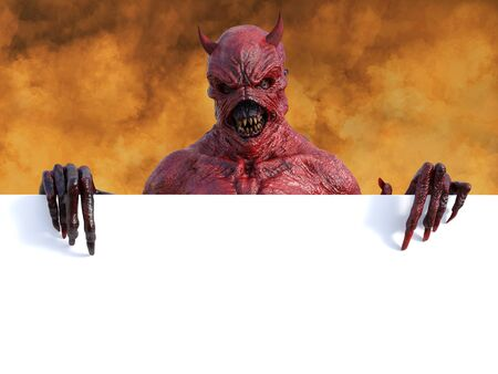 A mean looking demonic, red devil with horns standing and holding a blank sign Banque d'images