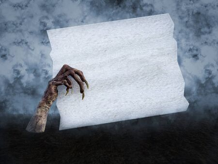 3D rendering of a monster or corpse hand with long creepy fingernails coming out of the ground, holding a blank white wooden sign with copyspace.