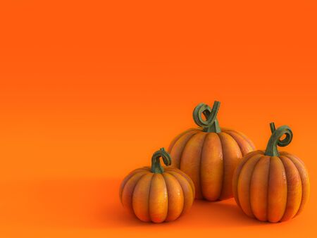 3D rendering of a halloween fall pumpkin greeting card with three pumpkins in the bottom right corner and lots of copyspace to fill in your message. Stock Photo