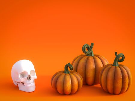 3D rendering of a halloween fall pumpkin greeting card with a skull and three pumpkins in the bottom and lots of copyspace above to fill in your message. Stock Photo