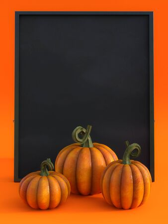 3D rendering of a halloween fall pumpkin greeting card with a big blackboard to write your message on and three pumpkins.