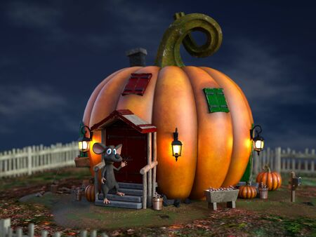 3D rendering of a cute smiling cartoon mouse standing outside a fantasy pumpkin house in a fairytale garden.