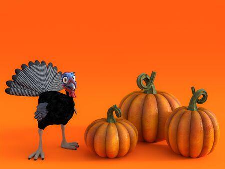 3D rendering of a silly cartoon turkey with three pumpkins on a fall pumpkin greeting card.