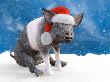 3D rendering of a piglet sitting down in snow looking happy and wearing a Santa hat. Snowy background.