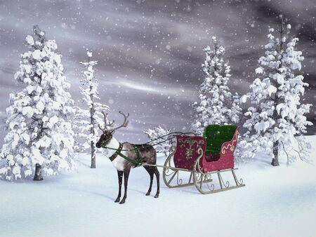 3D rendering of a reindeer pulling a sleigh waiting for Santa to come. The background is a snowy winter forest with snow in the air.