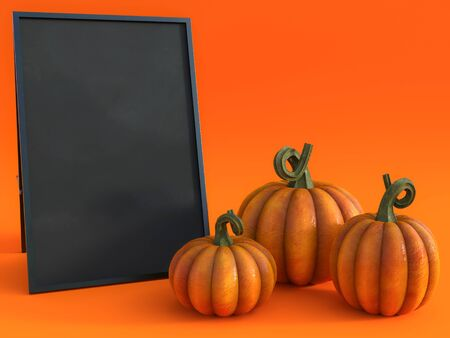 3D rendering of a halloween fall pumpkin greeting card with a blackboard to write your message on and three pumpkins. Stockfoto