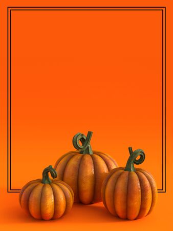 3D rendering of a halloween fall pumpkin greeting card with lots of copyspace to write your message on and three pumpkins.