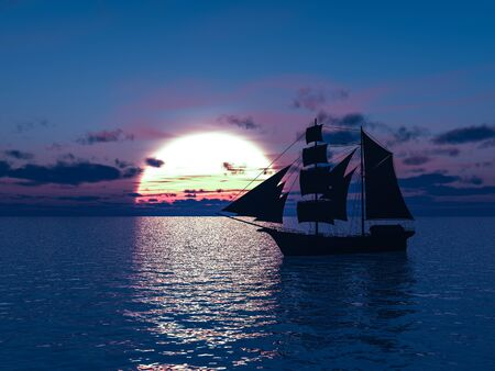 3D rendering of an old merchant ship or schooner out at sea at sunset. Stock Photo