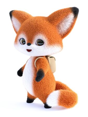 3D rendering of an adorable cute happy furry cartoon fox wearing a backpack, going to school. White background. Stock Photo