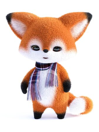 3D rendering of an adorable cute happy furry cartoon fox standing and wearing a scarf. White background.