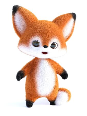 3D rendering of an adorable happy furry cartoon fox standing and looking cute. White background.