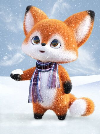 3D rendering of an adorable cute happy furry cartoon fox standing with snow in its hand and looking at the snow in the air. Snowy background.