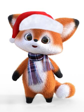 3D rendering of an adorable cute happy furry cartoon fox wearing a Santa hat and a scarf. White background.