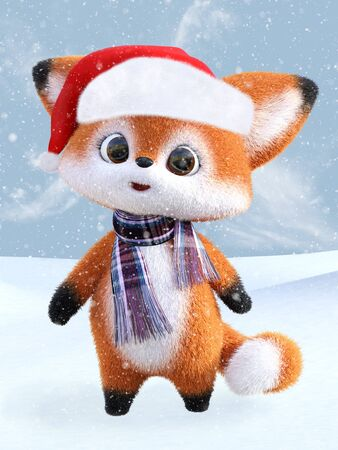 3D rendering of an adorable cute happy furry cartoon fox wearing a Santa hat and a scarf, standing in snow. Snowy background.