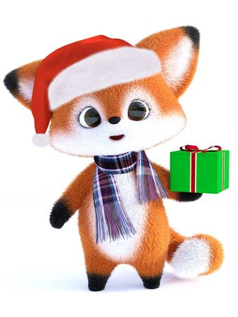 3D rendering of an adorable cute happy furry cartoon fox wearing a Santa hat and scarf, holding a Christmas gift. White background.