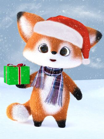 3D rendering of an adorable cute happy furry cartoon fox wearing a Santa hat and scarf, holding a Christmas gift. Snowy background.