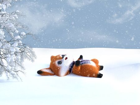 3D rendering of an adorable cute happy furry cartoon fox lying down on the ground and looking at the snow in the air. Snowy background.