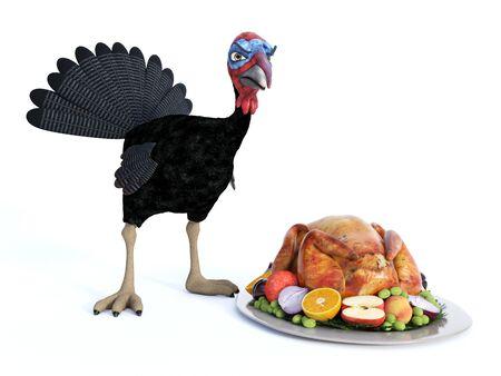 3D-Rendering eines dummen Cartoon-Truthahns, der wütend aussieht, wenn er einen gebratenen Truthahn auf einer Thanksgiving-Platte sieht. Weißer Hintergrund.