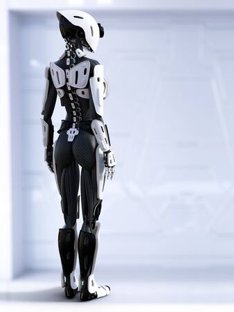 3D rendering of a female  robot standing with her back turned against the camera. Stock Photo