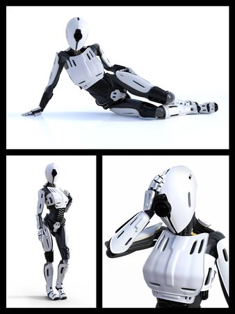 3D rendering collage of a female  robot technology artificial intelligence concept. Stock Photo