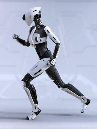 3D rendering of a female  robot running.